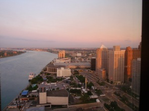 Sunrise, Detroit. Hart Plaza below.